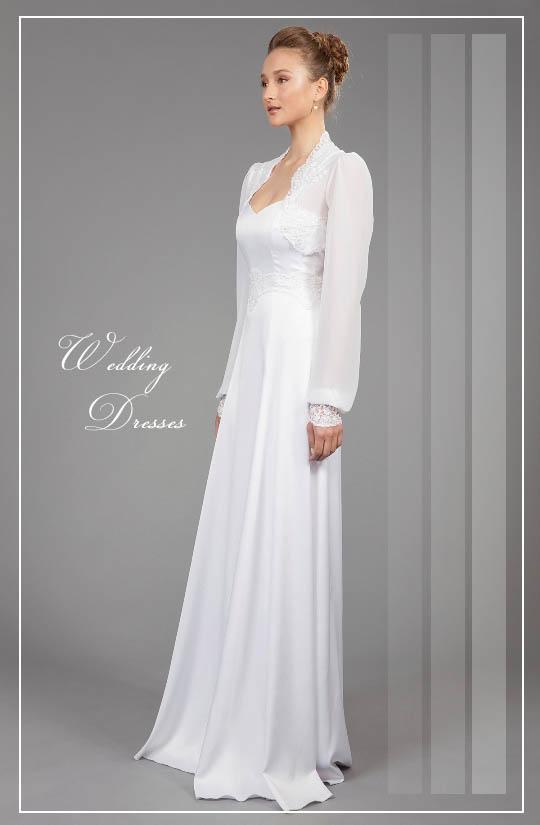 תמונה של שמלת כלה צנועה פרי עיצובה של המעצבת רינה בהיר